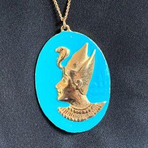 Vintage Pharaoh Medalion Pendant Necklace Egyptian
